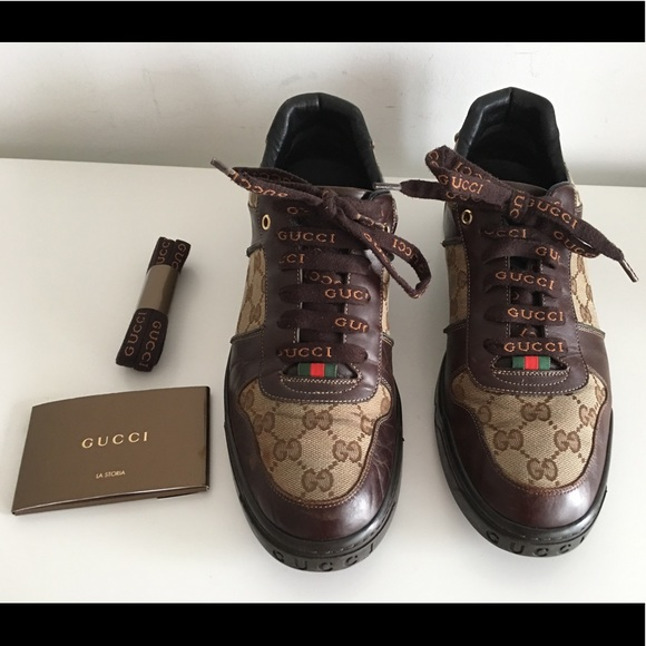 c67d05de981 Gucci Other - GUCCI MENS SHOES LACE-UP SNEAKERS IN BROWN LEATHER